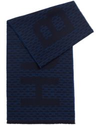BOSS Italian-made Monogram Scarf In A Brushed Wool Blend - Blue