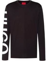 HUGO Relaxed-fit T-shirt In Cotton With Oversized Sleeve Logo - Black
