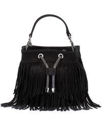 HUGO Suede Bucket Bag With Fringe Detailing - Black