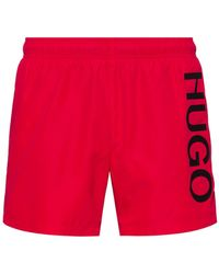 HUGO Quick-dry Logo Swim Shorts In Recycled Fabric - Red