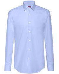 HUGO Plain Slim-fit Cotton Shirt: 'c-jenno' - Blue
