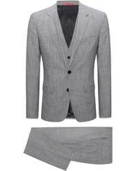 HUGO Extra-slim-fit Three-piece Suit In Melange Virgin Wool - Grey