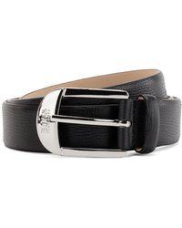 BOSS by Hugo Boss Pin-buckle Belt In Grained Italian Leather - Black