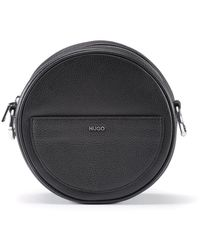 HUGO Crossbody Bag In Grained Leather With Signature Hardware - Black
