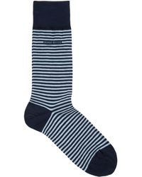 BOSS Regular-length Striped Socks In Combed Stretch Cotton - Blue