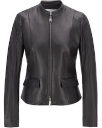 BOSS Leather Jacket In Lamb Nappa With Buckle Detail - Black