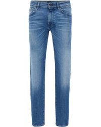 BOSS - Regular-fit Jeans In Comfort-stretch Stonewashed Denim - Lyst