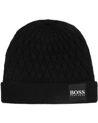 Boss Beanie Hat In Mouliné Cashmere in Black for Men - Lyst 4d144f5005b7