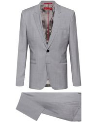 HUGO Extra-slim-fit Three-piece Suit With Print Detailing - Grey