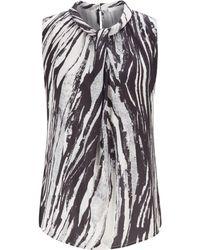 BOSS Sleeveless Top In Zebra-print Italian Twill - Multicolour