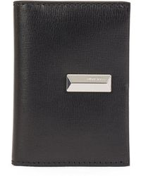 BOSS by Hugo Boss Structured-leather Card Holder With Pyramid Hardware - Black