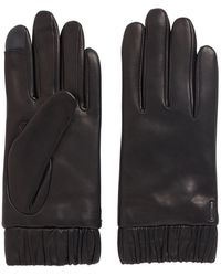 BOSS Lambskin Gloves With Elasticated Cuffs And Touchscreen Tips - Black
