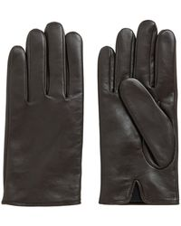 BOSS by HUGO BOSS Nappa Leather Gloves With Lasered Logo - Brown