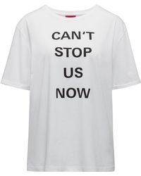 HUGO - Relaxed-fit T-shirt In Organic Cotton With Slogan Print - Lyst