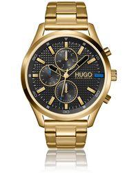 HUGO Horloge Met Geelgoudkleurig Effect En Gestructureerde Wijzerplaat - Metallic