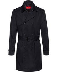 HUGO Slim-fit Trench Coat In Water-repellent Fabric - Black