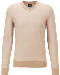 BOSS by HUGO BOSS Pullover aus zweifarbig strukturierter Baumwolle mit V-Ausschnitt - Natur