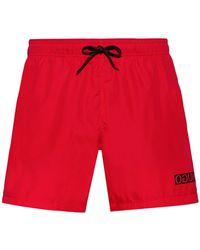 HUGO Quick-dry Swim Shorts With Reversed-logo Print - Red