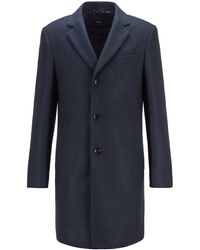 BOSS by HUGO BOSS Slim-fit Mantel In Blazerstijl Met Visgraatstructuur - Blauw