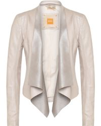 BOSS Orange Feminine Leather Jacket With Cowl Neck: 'jesali' - Natural