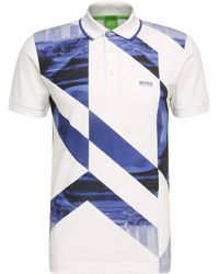 BOSS Green - Slim-fit Polo Shirt In Stretch Cotton With Photo Print: 'paule 3' - Lyst