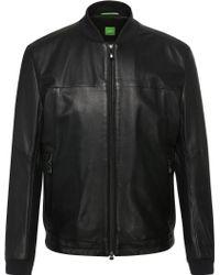 BOSS Green Regular-fit Biker Jacket In Fabric Blend With Leather: 'jolmen' - Black
