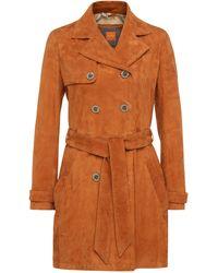 BOSS Orange - Regular-fit Trench Coat In Suede: 'josea' - Lyst