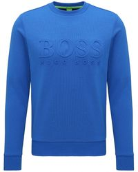 BOSS Green Slim-fit Cotton-blend Sweatshirt With Embossing - Blue