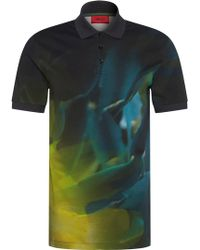 HUGO Slim-fit Polo Shirt In Cotton With Abstract All-over Print: 'dunnyvale' - Blue