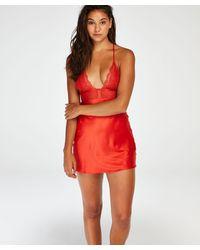 Hunkemöller Satin Lace Slip Dress - Red