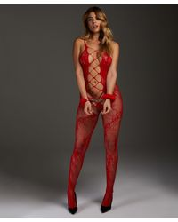 Hunkemöller Private Catsuit aus offener Spitze - Rot
