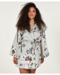 Hunkemöller Kimono Satin imprimé - Bleu