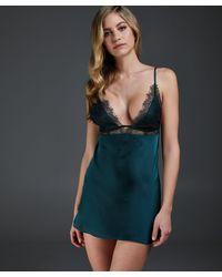 Hunkemöller Vestido combinación satinado Holly - Verde