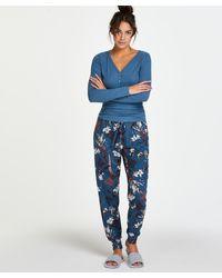 Hunkemöller Pyjamahose Jersey - Blau