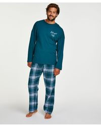 Hunkemöller Pyjamaset Heren - Blauw