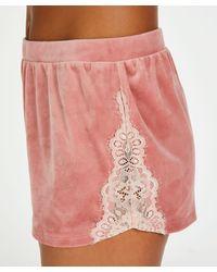 Hunkemöller Kurze Pyjamahose Velvet Contrast Lace - Pink