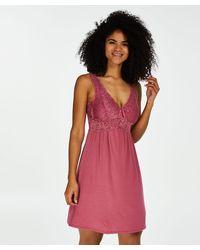 Hunkemöller Slipdress Modal Lace mit Spitze - Pink