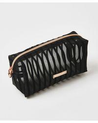 Hunkemöller Striped Mesh Make-up Bag - Black