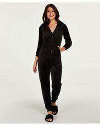 Hunkemöller Pijama de una pieza de terciopelo - Negro