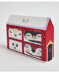 Hunkemöller 4 Paar Kerst Sokken Giftbox - Rood