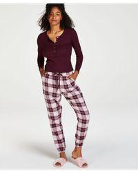 Hunkemöller Haut de pyjama à manches longues - Rouge