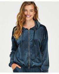 Hunkemöller Velvet Hoodie Jacket - Blue