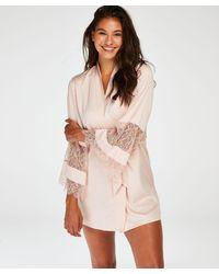 Hunkemöller Kimono de satén y encaje - Rosa