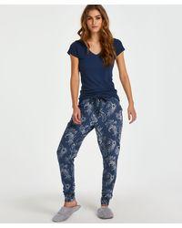Hunkemöller Pyjamabroek Indigo Floral - Blauw