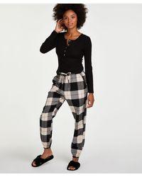 Hunkemöller Petite Pyjamabroek Twill Check - Zwart