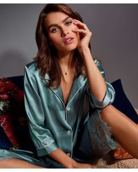Hunkemöller Pyjama Jasje Zijde - Blauw