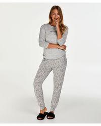 Hunkemöller Cadeauset Lange Pyjama Set Jersey - Grijs