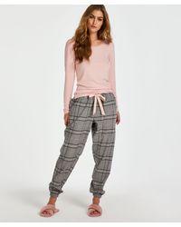 Hunkemöller Pyjamabroek Twill Check - Grijs