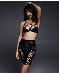 Hunkemöller Rok Mesh Lace-up Private - Zwart