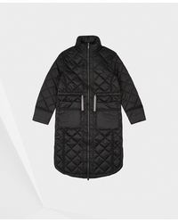 HUNTER Refined Insulated Quilted Long Coat - Black